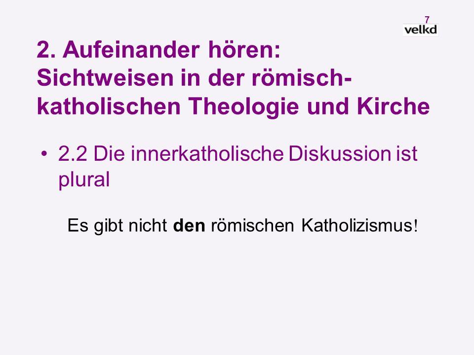 6 2. Aufeinander hören: Sichtweisen in der römisch- katholischen Theologie und Kirche 2.1 Dominus Iesus und Unterzeichnung der GE Starke Kritik in kat