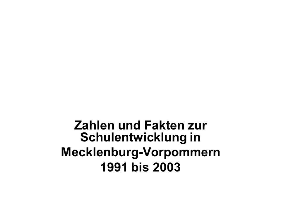 Zahlen und Fakten zur Schulentwicklung in Mecklenburg-Vorpommern 1991 bis 2003