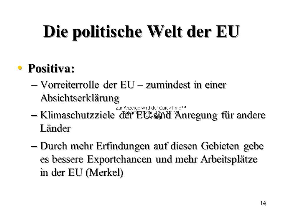 14 Die politische Welt der EU Positiva: – Vorreiterrolle der EU – zumindest in einer Absichtserklärung – Klimaschutzziele der EU sind Anregung für and