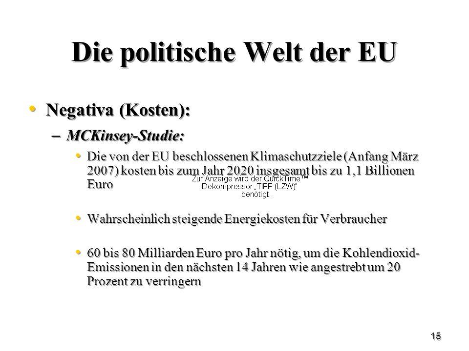 15 Die politische Welt der EU Negativa (Kosten): – MCKinsey-Studie: Die von der EU beschlossenen Klimaschutzziele (Anfang März 2007) kosten bis zum Ja