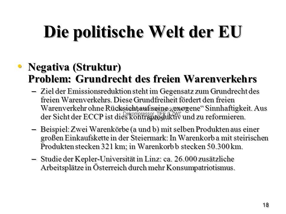 18 Die politische Welt der EU Negativa (Struktur) Problem: Grundrecht des freien Warenverkehrs – Ziel der Emissionsreduktion steht im Gegensatz zum Gr