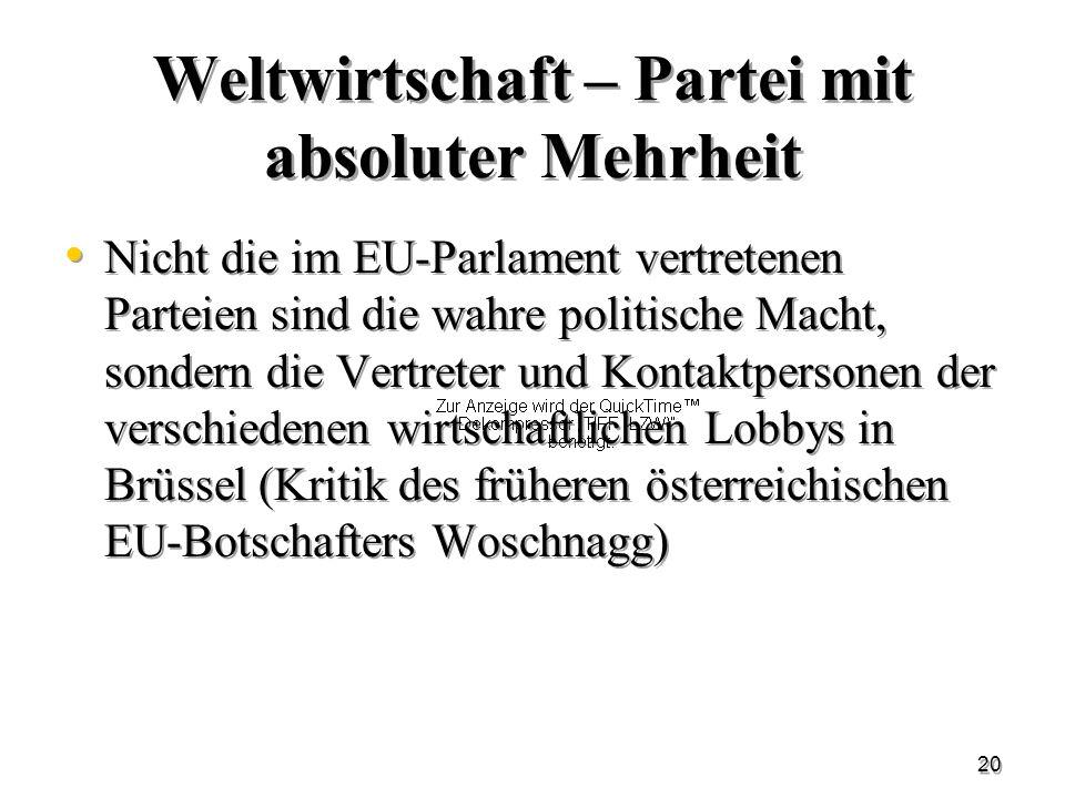 20 Weltwirtschaft – Partei mit absoluter Mehrheit Nicht die im EU-Parlament vertretenen Parteien sind die wahre politische Macht, sondern die Vertrete