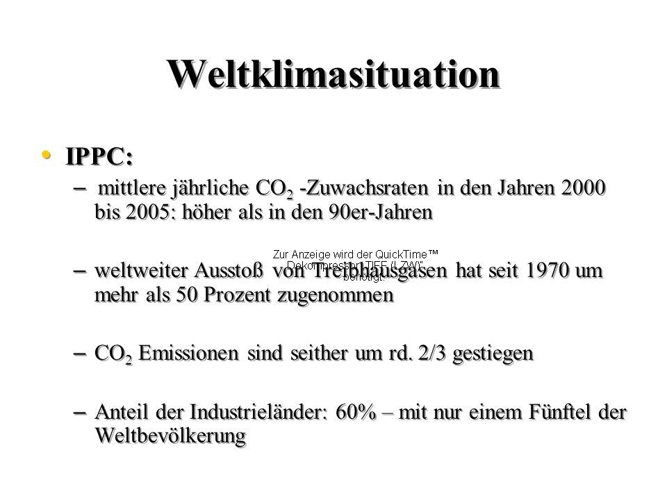 4 Weltklimasituation IPPC: – mittlere jährliche CO 2 -Zuwachsraten in den Jahren 2000 bis 2005: höher als in den 90er-Jahren – weltweiter Ausstoß von