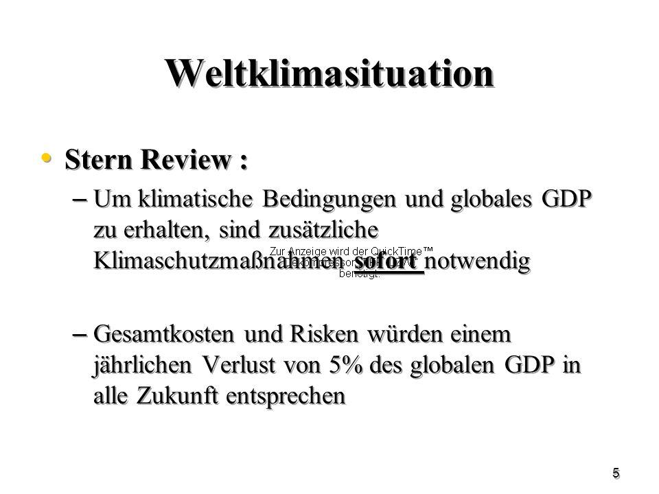 5 Weltklimasituation Stern Review : – Um klimatische Bedingungen und globales GDP zu erhalten, sind zusätzliche Klimaschutzmaßnahmen sofort notwendig