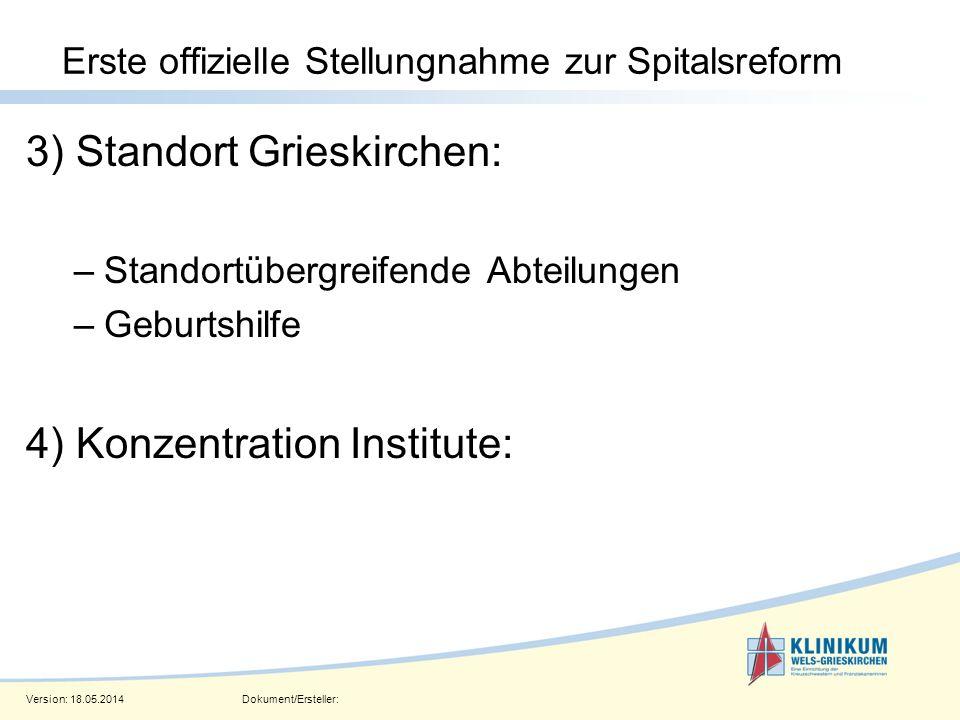 Version: 18.05.2014Dokument/Ersteller: Seite 10 Erste offizielle Stellungnahme zur Spitalsreform 3) Standort Grieskirchen: –Standortübergreifende Abte