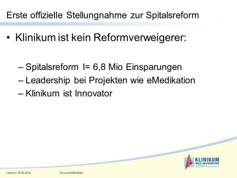Version: 18.05.2014Dokument/Ersteller: Seite 2 Erste offizielle Stellungnahme zur Spitalsreform Klinikum ist kein Reformverweigerer: –Spitalsreform I=