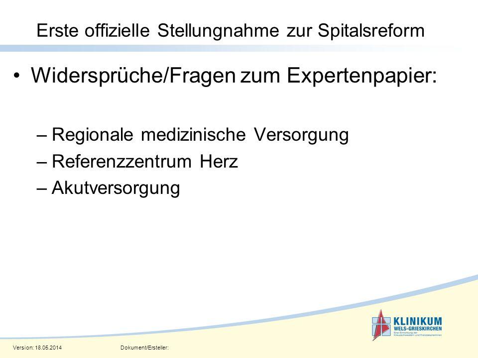 Version: 18.05.2014Dokument/Ersteller: Seite 5 Erste offizielle Stellungnahme zur Spitalsreform Widersprüche/Fragen zum Expertenpapier: –Regionale med