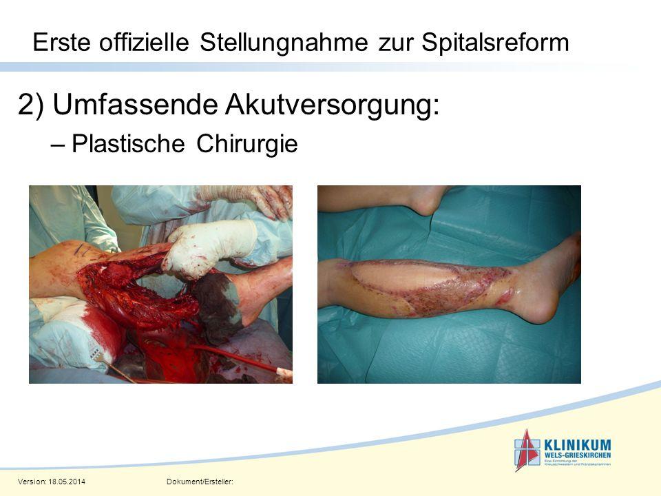 Version: 18.05.2014Dokument/Ersteller: Seite 9 Erste offizielle Stellungnahme zur Spitalsreform 2) Umfassende Akutversorgung: –Plastische Chirurgie