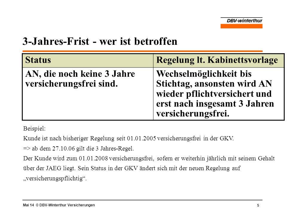 5 Mai 14 © DBV-Winterthur Versicherungen 3-Jahres-Frist - wer ist betroffen StatusRegelung lt. Kabinettsvorlage AN, die noch keine 3 Jahre versicherun