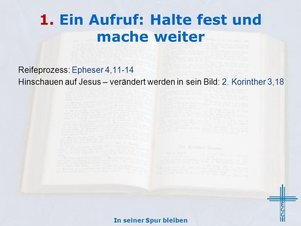 1. Ein Aufruf: Halte fest und mache weiter Reifeprozess: Epheser 4,11-14 Hinschauen auf Jesus – verändert werden in sein Bild: 2. Korinther 3,18 In se