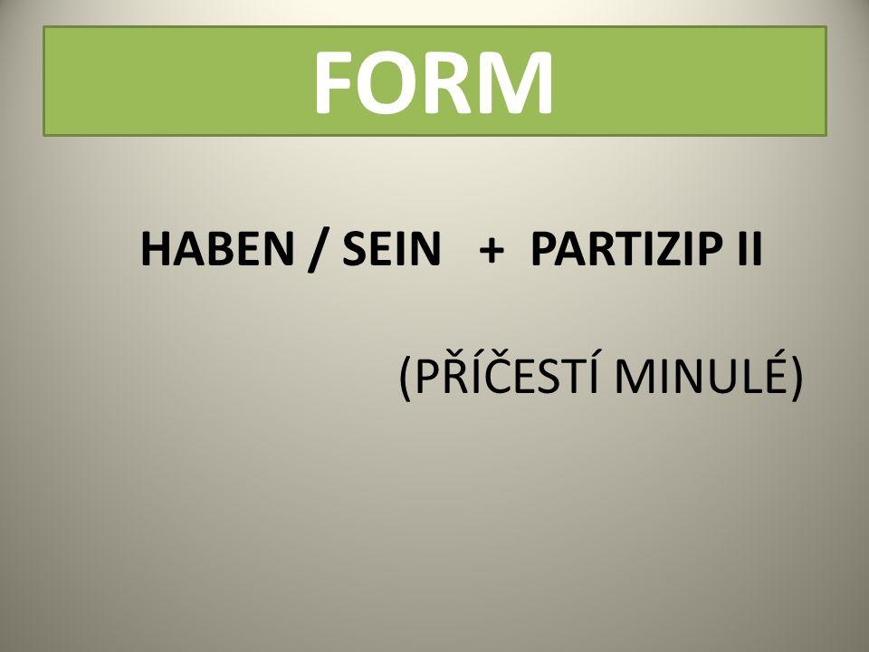 FORM HABEN / SEIN + PARTIZIP II (PŘÍČESTÍ MINULÉ)