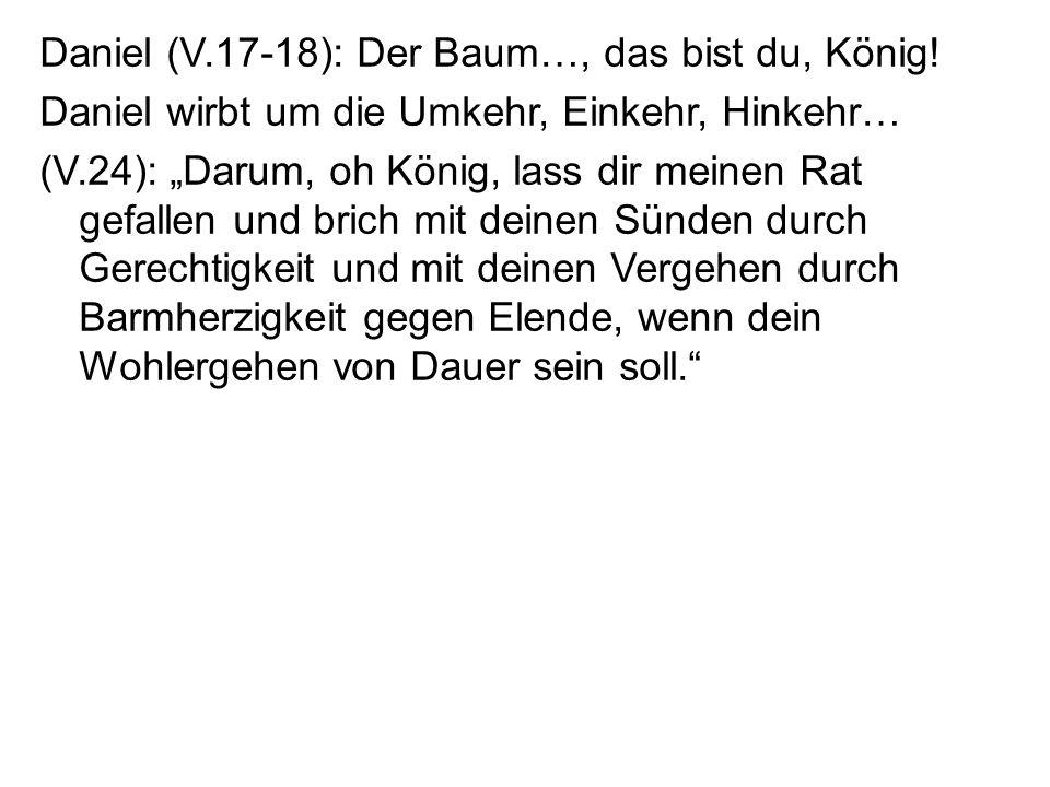 Daniel (V.17-18): Der Baum…, das bist du, König! Daniel wirbt um die Umkehr, Einkehr, Hinkehr… (V.24): Darum, oh König, lass dir meinen Rat gefallen u