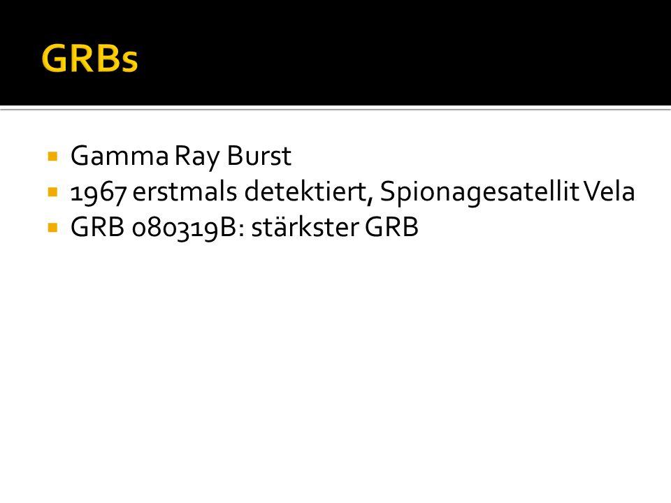 Gamma Ray Burst 1967 erstmals detektiert, Spionagesatellit Vela GRB 080319B: stärkster GRB
