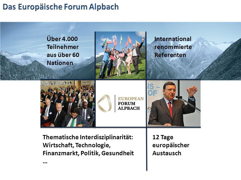 Über 4.000 Teilnehmer aus über 60 Nationen 12 Tage europäischer Austausch Thematische Interdisziplinarität: Wirtschaft, Technologie, Finanzmarkt, Politik, Gesundheit … International renommierte Referenten