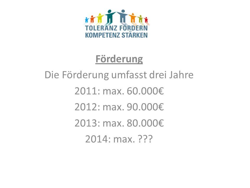 Förderung Die Förderung umfasst drei Jahre 2011: max.