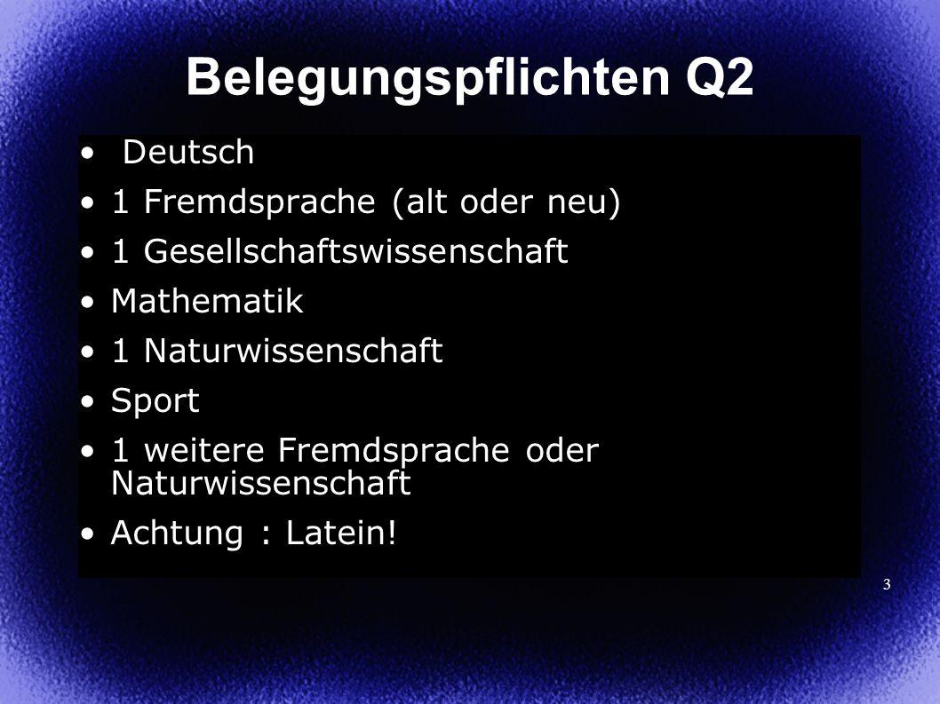 3 Deutsch 1 Fremdsprache (alt oder neu) 1 Gesellschaftswissenschaft Mathematik 1 Naturwissenschaft Sport 1 weitere Fremdsprache oder Naturwissenschaft Achtung : Latein.