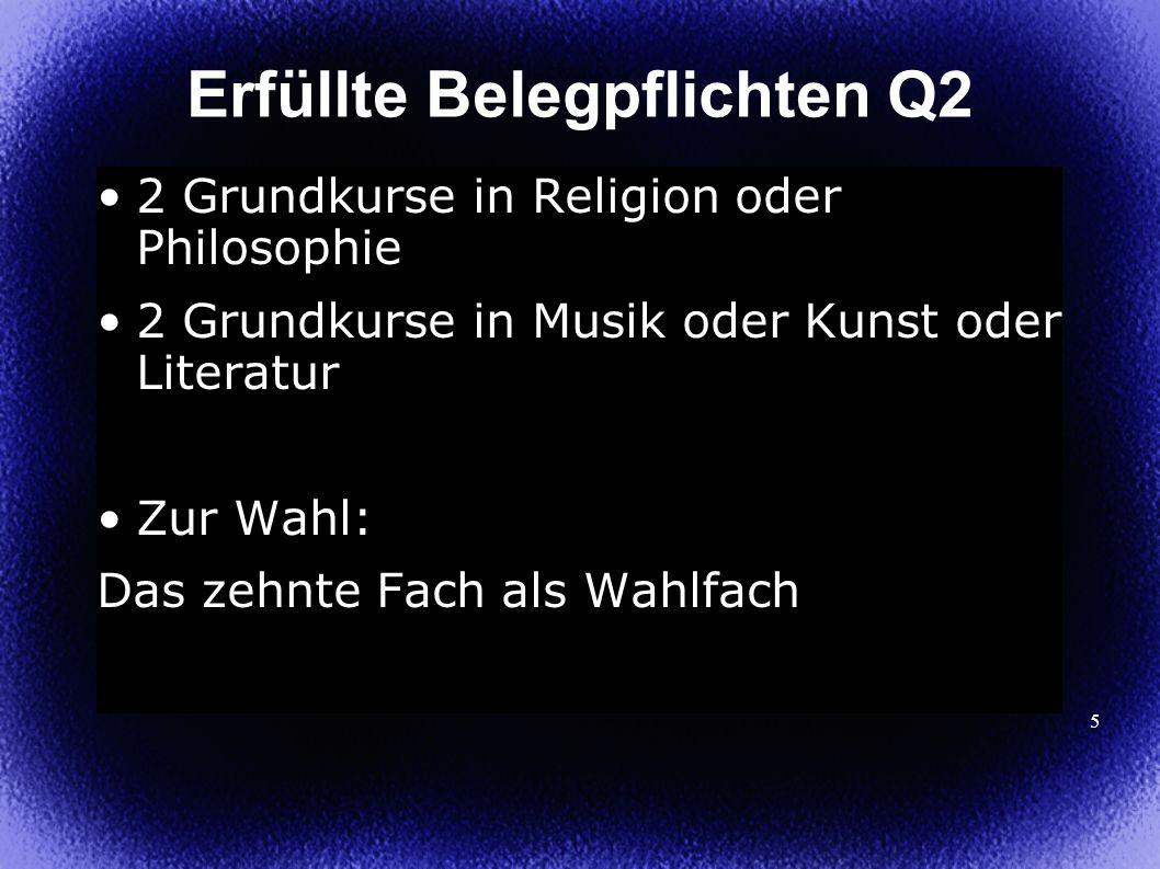 5 2 Grundkurse in Religion oder Philosophie 2 Grundkurse in Musik oder Kunst oder Literatur Zur Wahl: Das zehnte Fach als Wahlfach Erfüllte Belegpflichten Q2