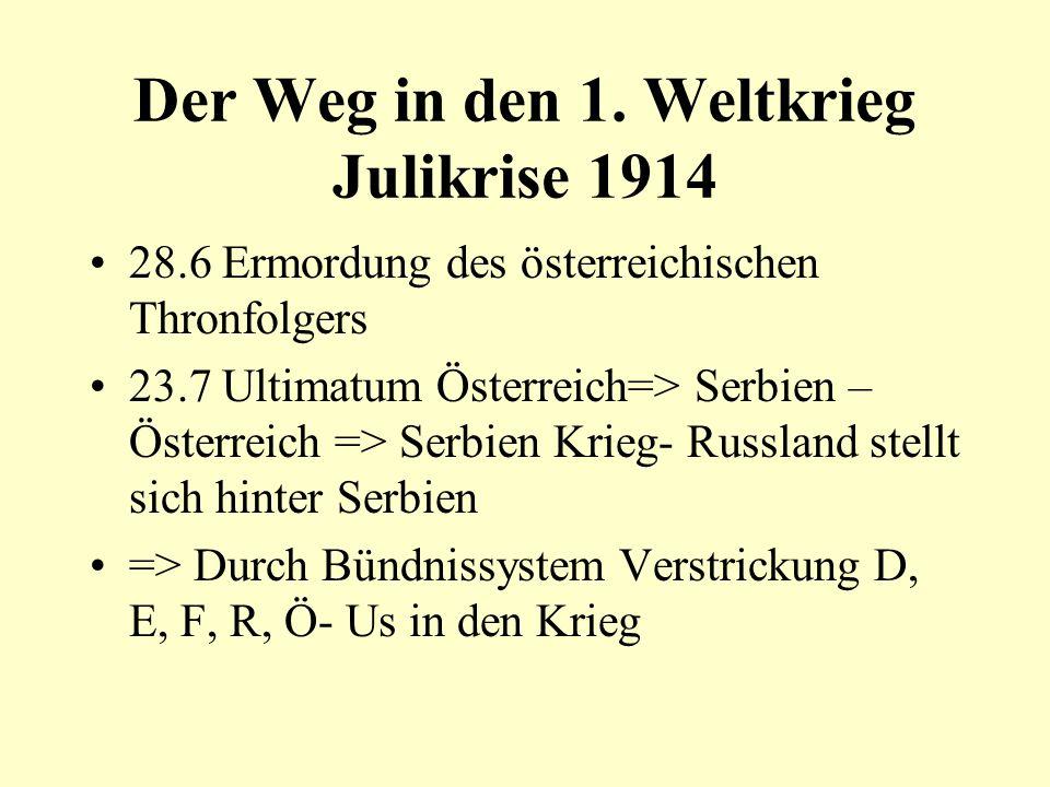 Der Weg in den 1. Weltkrieg Julikrise 1914 28.6 Ermordung des österreichischen Thronfolgers 23.7 Ultimatum Österreich=> Serbien – Österreich => Serbie