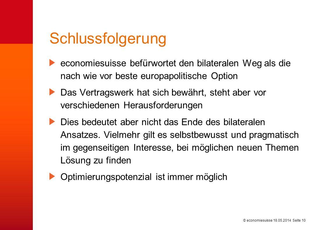 © economiesuisse Schlussfolgerung economiesuisse befürwortet den bilateralen Weg als die nach wie vor beste europapolitische Option Das Vertragswerk h