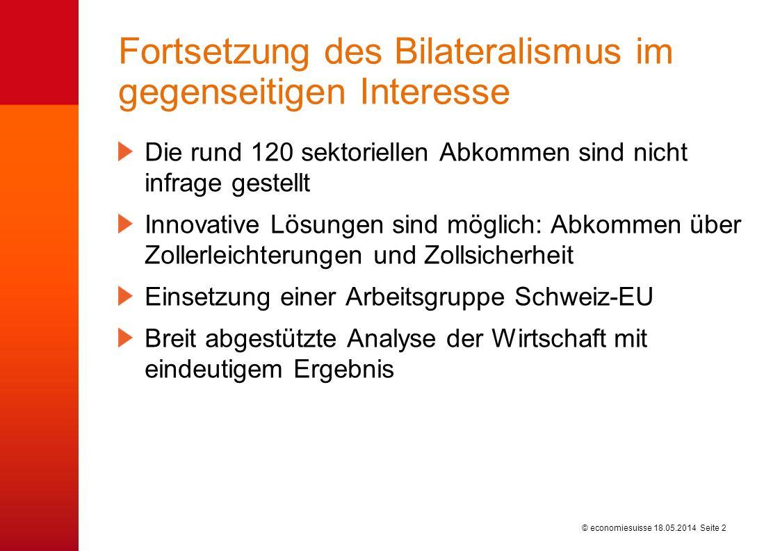 © economiesuisse Fortsetzung des Bilateralismus im gegenseitigen Interesse Die rund 120 sektoriellen Abkommen sind nicht infrage gestellt Innovative L