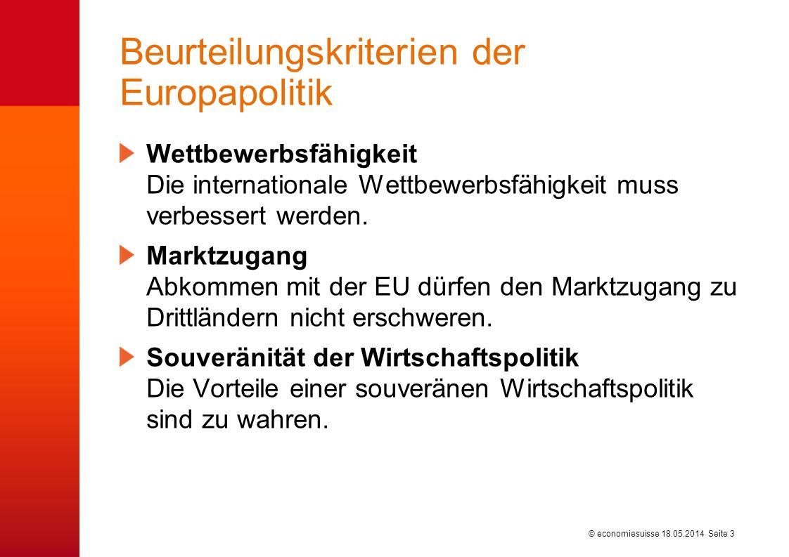 © economiesuisse Beurteilungskriterien der Europapolitik Wettbewerbsfähigkeit Die internationale Wettbewerbsfähigkeit muss verbessert werden. Marktzug