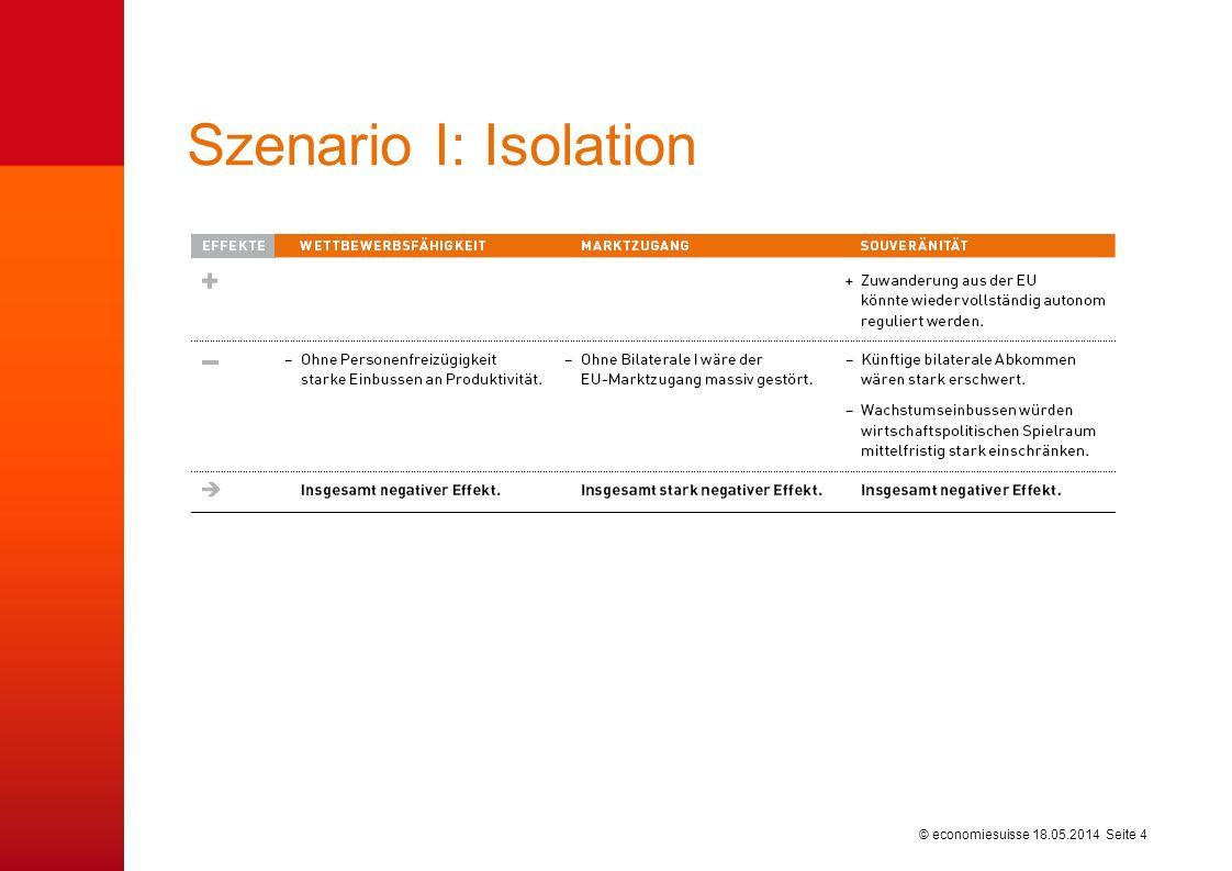 © economiesuisse Szenario I: Isolation 18.05.2014 Seite 4