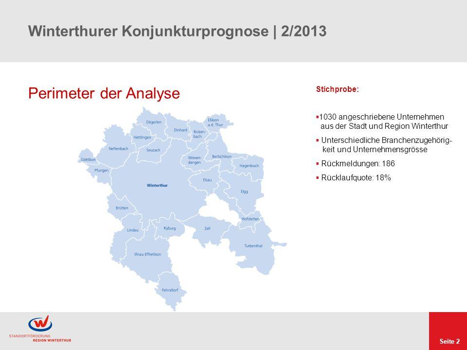 Seite 2 Winterthurer Konjunkturprognose | 2/2013 Perimeter der Analyse Stichprobe: 1030 angeschriebene Unternehmen aus der Stadt und Region Winterthur Unterschiedliche Branchenzugehörig- keit und Unternehmensgrösse Rückmeldungen: 186 Rücklaufquote: 18%