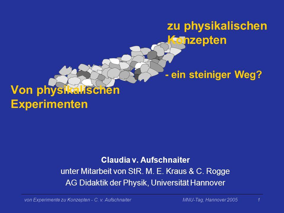 MNU-Tag, Hannover 2005von Experimente zu Konzepten - C. v. Aufschnaiter1 Claudia v. Aufschnaiter unter Mitarbeit von StR. M. E. Kraus & C. Rogge AG Di