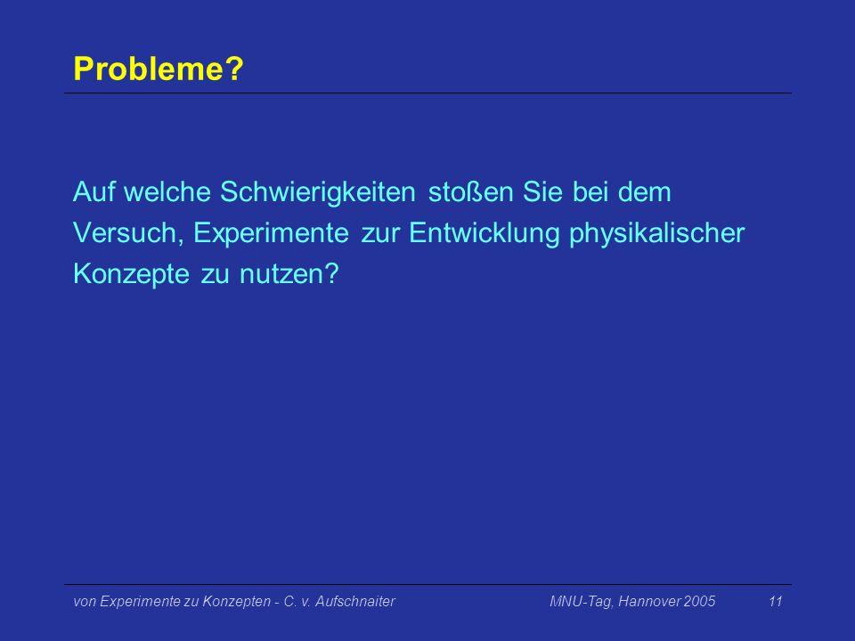 MNU-Tag, Hannover 2005von Experimente zu Konzepten - C. v. Aufschnaiter11 Probleme? Auf welche Schwierigkeiten stoßen Sie bei dem Versuch, Experimente