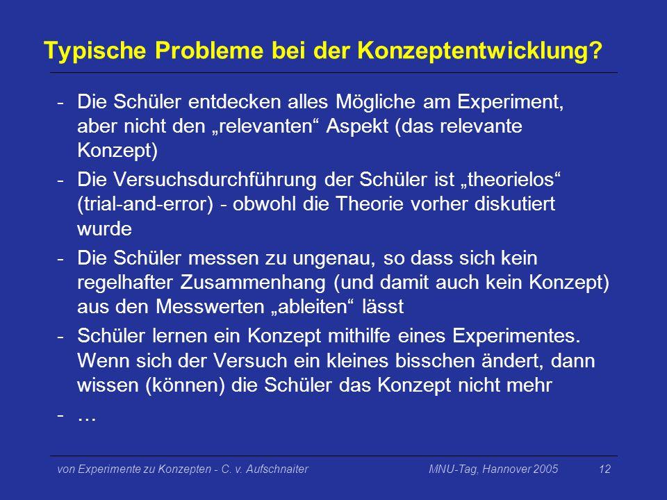 MNU-Tag, Hannover 2005von Experimente zu Konzepten - C. v. Aufschnaiter12 Typische Probleme bei der Konzeptentwicklung? -Die Schüler entdecken alles M