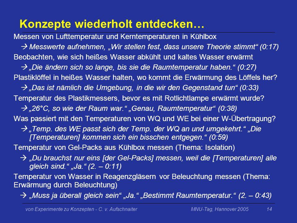 MNU-Tag, Hannover 2005von Experimente zu Konzepten - C. v. Aufschnaiter14 Konzepte wiederholt entdecken… Messen von Lufttemperatur und Kerntemperature