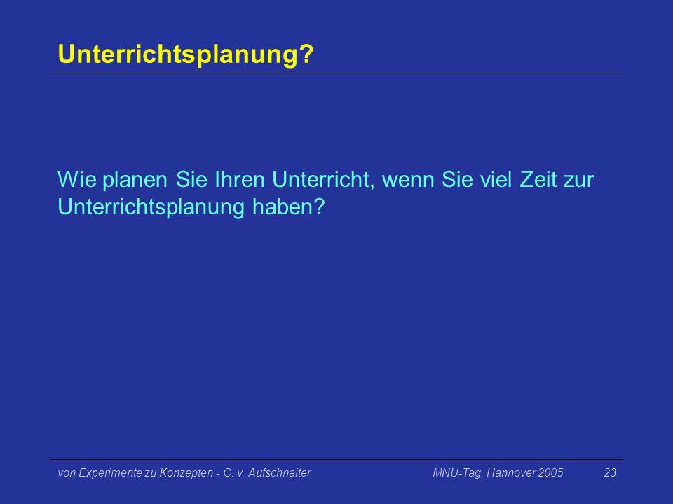 MNU-Tag, Hannover 2005von Experimente zu Konzepten - C. v. Aufschnaiter23 Unterrichtsplanung? Wie planen Sie Ihren Unterricht, wenn Sie viel Zeit zur