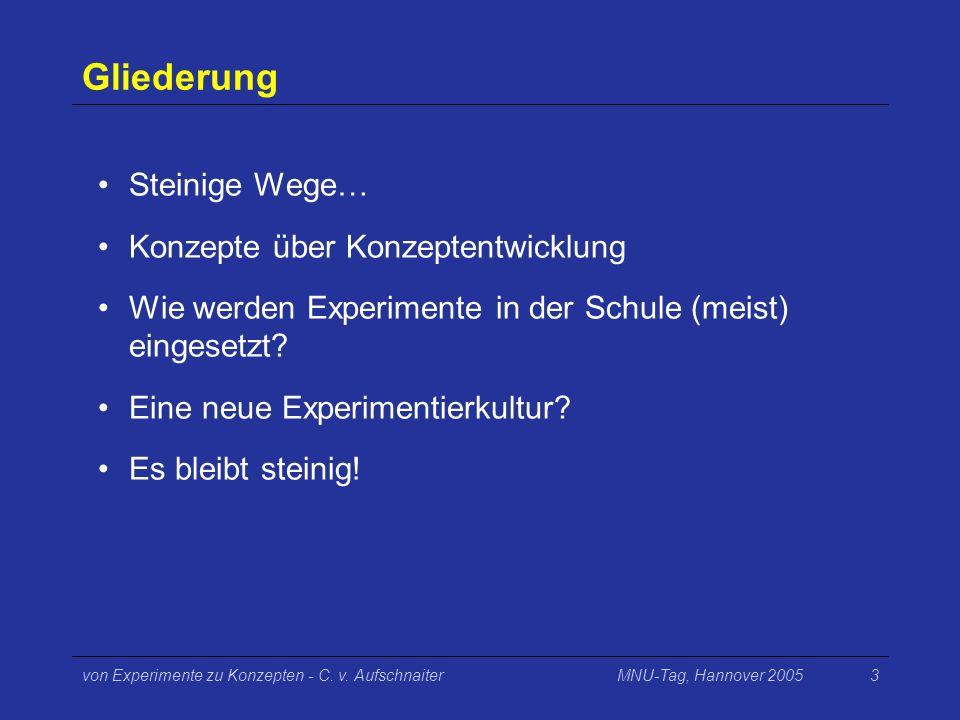 MNU-Tag, Hannover 2005von Experimente zu Konzepten - C. v. Aufschnaiter3 Gliederung Steinige Wege… Konzepte über Konzeptentwicklung Wie werden Experim