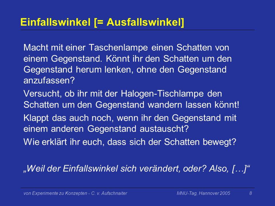 MNU-Tag, Hannover 2005von Experimente zu Konzepten - C. v. Aufschnaiter8 Einfallswinkel [= Ausfallswinkel] Macht mit einer Taschenlampe einen Schatten