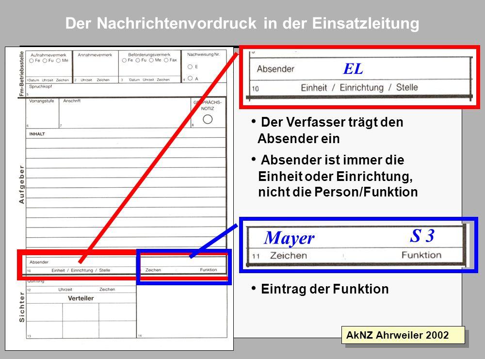 Folie 9 AkNZ Ahrweiler 2002 Der Nachrichtenvordruck in der Einsatzleitung 171430apr02 Text der Nachricht... Abfassungszeit: wird mit übermittelt für E