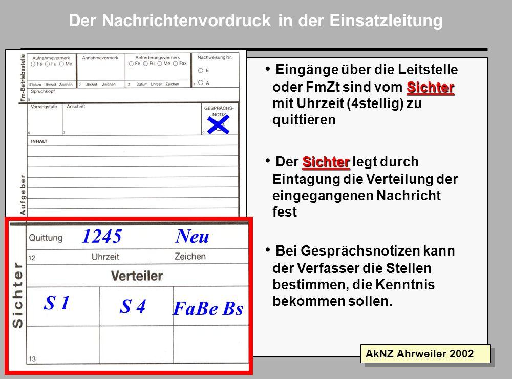 Folie 10 AkNZ Ahrweiler 2002 Der Nachrichtenvordruck in der Einsatzleitung Der Verfasser trägt den Absender ein Absender ist immer die Einheit oder Ei