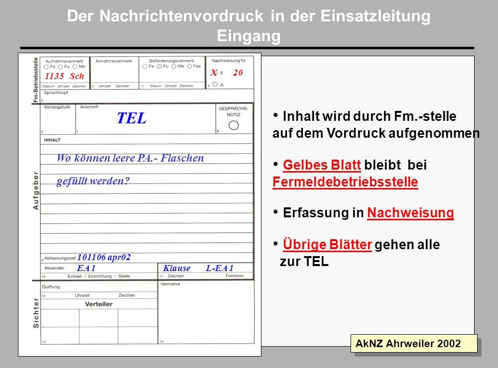 Folie 12 AkNZ Ahrweiler 2002 Der Nachrichtenvordruck in der Einsatzleitung Raum für weitere, nicht im Vordruck erfaßte Bearbeitungsvermerke Erledigung