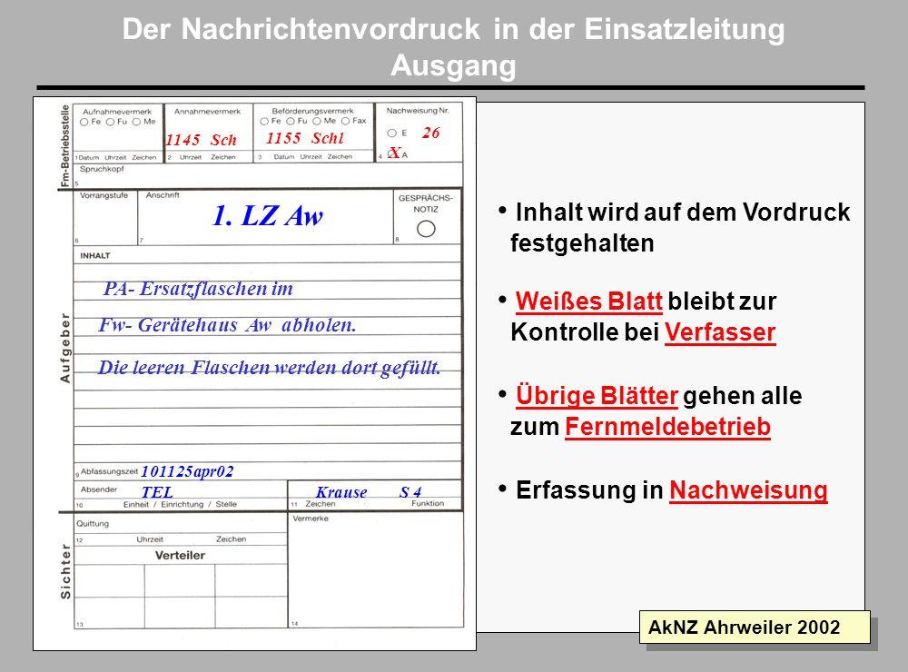 Folie 14 AkNZ Ahrweiler 2002 Informationsverarbeitung Eingang Fernmeldestelle Sichter 3 San BR THW Die Fm.-stelle behält das gelbe Blatt als Nachweis