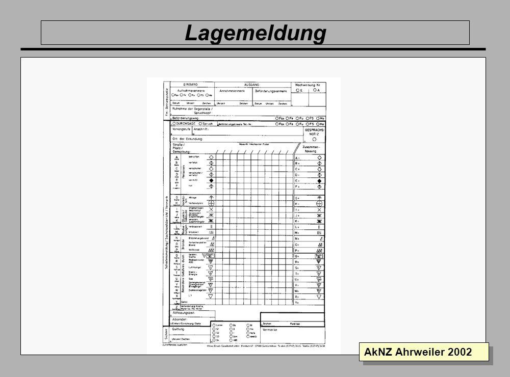 Folie 17 AkNZ Ahrweiler 2002 Informationsverarbeitung Ausgang Fernmeldestelle Sichter 3 San BR THW Der Bearbeiter behält das weiße Blatt ETB Rückmeldu