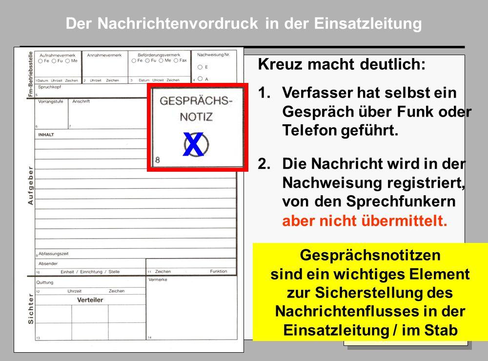 Folie 7 AkNZ Ahrweiler 2002 Der Nachrichtenvordruck in der Einsatzleitung X Kreuz macht deutlich: 1.Verfasser hat selbst ein Gespräch über Funk oder Telefon geführt.