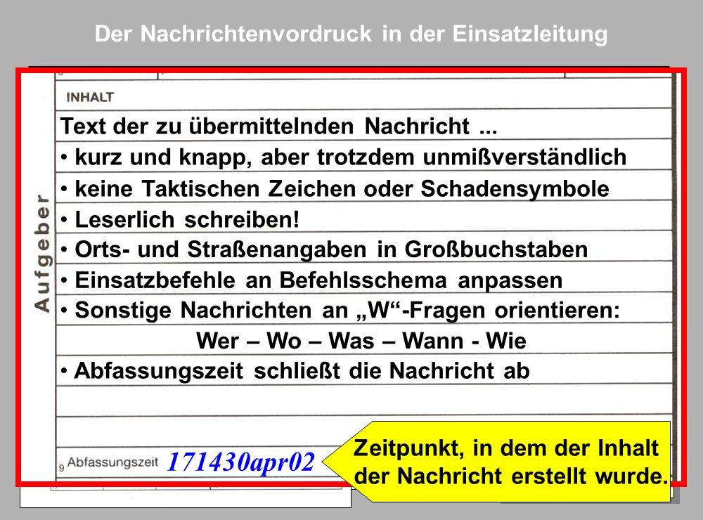 Folie 7 AkNZ Ahrweiler 2002 Der Nachrichtenvordruck in der Einsatzleitung X Kreuz macht deutlich: 1.Verfasser hat selbst ein Gespräch über Funk oder T