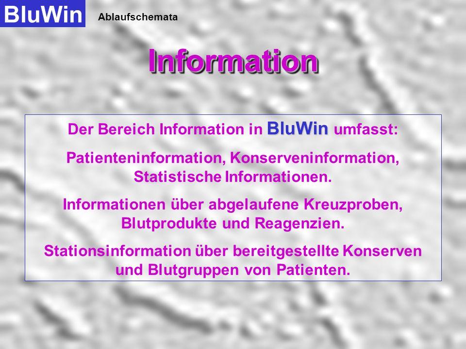 Ablaufschemata BluWinAdministrationAdministration Administration Reagenzien Stationen und Konten Blutprodukte KH-Stammdaten Anwender Hier muss zuerst