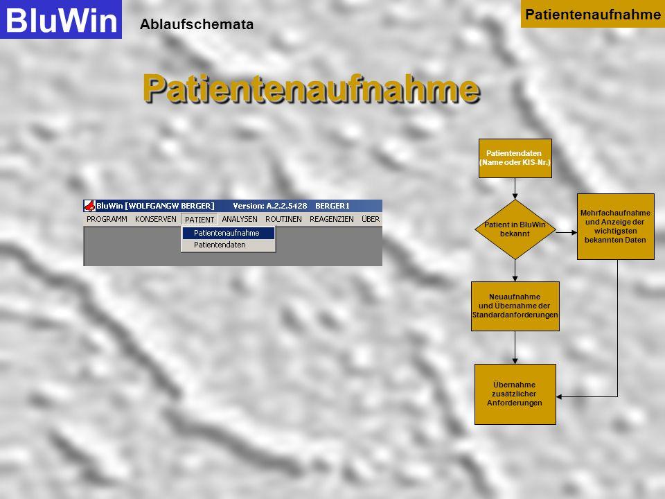 Ablaufschemata Patientendaten (Name oder KIS-Nr.) Patient in BluWin bekannt Neuaufnahme und Übernahme der Standardanforderungen Mehrfachaufnahme und A