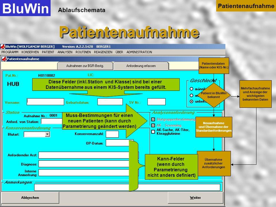 Ablaufschemata dann drücken Sie auf Neuaufnahme BluWinPatientenaufnahmePatientenaufnahme Patientenaufnahme Patientendaten (Name oder KIS-Nr.) Patient