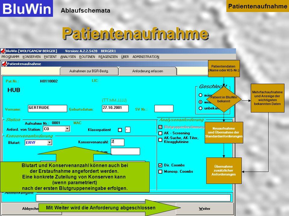 Ablaufschemata Bis zu einem bestimmten Alter der Patienten können die serologischen Anforderungen automatisch verändert werden. BluWinPatientenaufnahm
