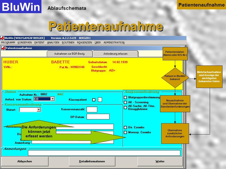 Ablaufschemata Ist der Patient im Datenbestand von BluWin bereits vorhanden, dann markiert der Anwender diesen Patienten und übernimmt die Daten mit M