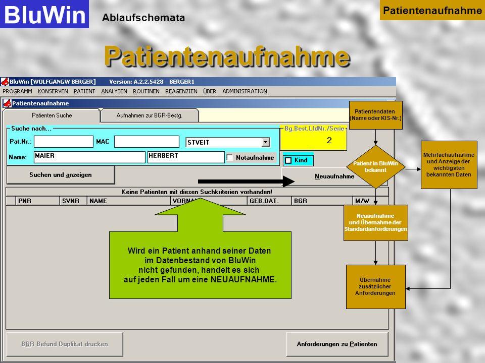Ablaufschemata Der letzte Negative AK-Suchtest und eventuelle Transfusionszwischenfälle werden hier angezeigt BluWinPatientenaufnahmePatientenaufnahme