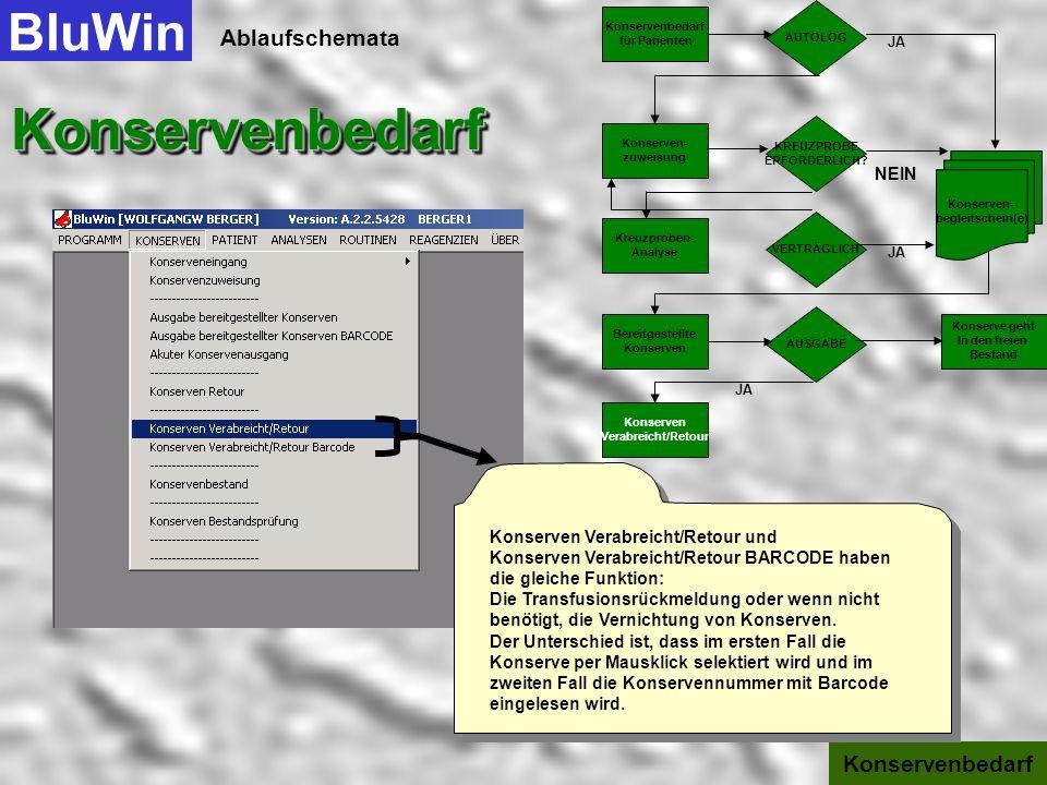 Ablaufschemata BluWinKonservenbedarfKonservenbedarf Konservenbedarf werden die dazugehörenden Patienten- und Konserven- informationen angezeigt. Sie k
