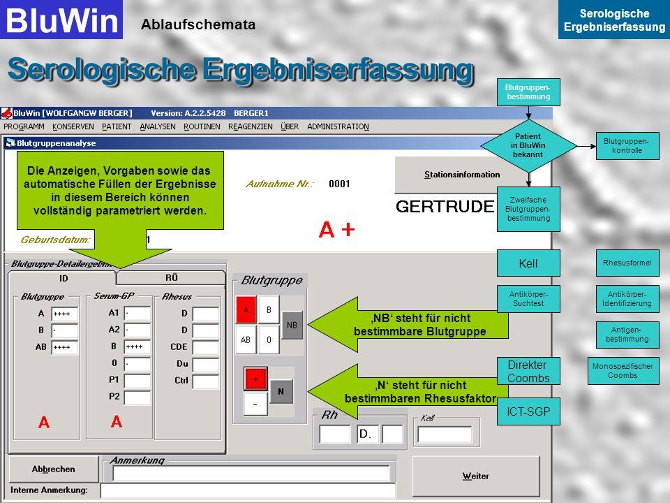 Ablaufschemata BluWin Serologische Ergebniserfassung Serologische Ergebniserfassung Sie selektieren hier die Blutgruppe und hier den Rhesusfaktor Sele