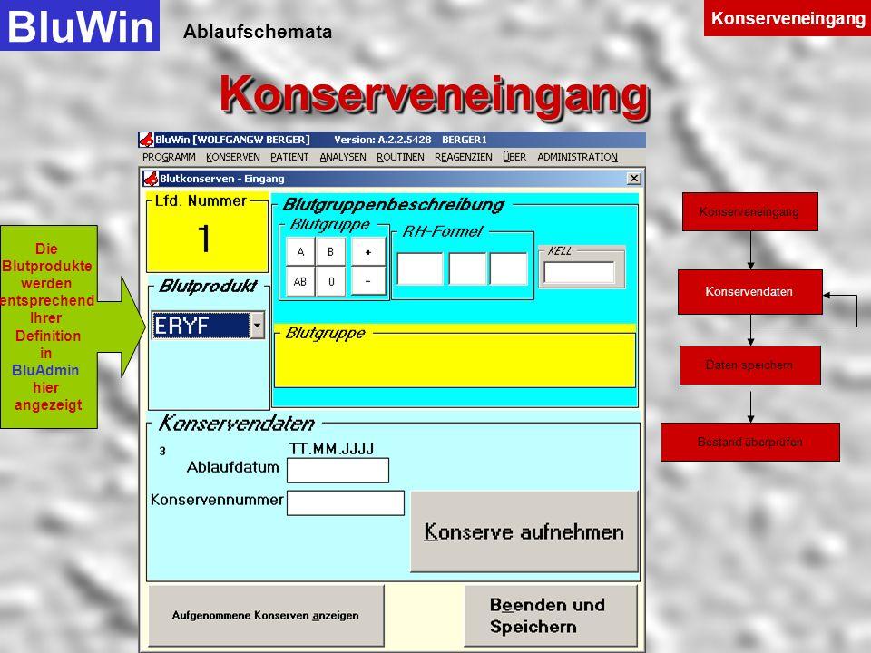 Ablaufschemata In der Kopfzeile wird der in BluWin angemeldete Anwender, die Versionsnummer von BluWin und der Rechnername, auf dem BluWin läuft, ange
